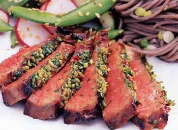 Grilled, Korean-Style Steaks w/ Spicy Cilantro Sauce. I got this ...