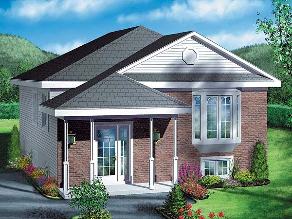Traditional Style House Plan 49418 With 2 Bed 1 Bath House Plans Split Foyer Small House Plans