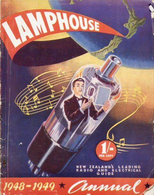 Lamphouse annual 1948-1949. Cover of sales catalogue for products of the company, including lighting, irons, toasters, electrical appliances, handyman's sundries, war surplus bargains (microphones, remote control units), radio hardware, valves, electric circuitry, and finishing with a list of short wave stations of the world.