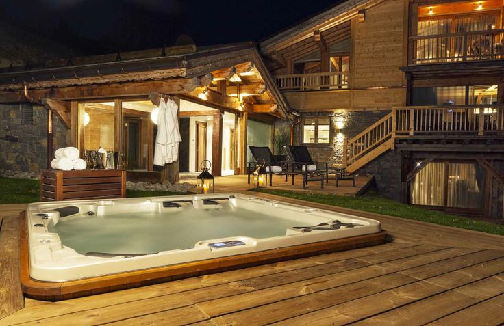 View of the Jacuzzi at Chalet Grande Corniche at Les Gets ski resort.