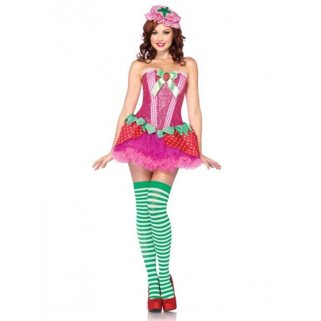Strawberry sweetie aardbei jurkje voor dames. 3-delig aardbeien kostuum dat bestaat uit het korset met pailletten, de rok met aardbeien print en en het aardbeien hoedje. Carnavalskleding 2015 #carnaval