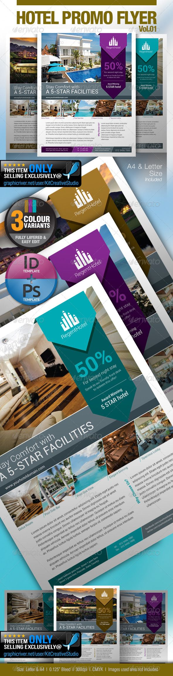 Hotel Promo Flyer Vol.01 — Photoshop PSD #a4 #bellboy • Available here → https://graphicriver.net/item/hotel-promo-flyer-vol01/5335953?ref=pxcr