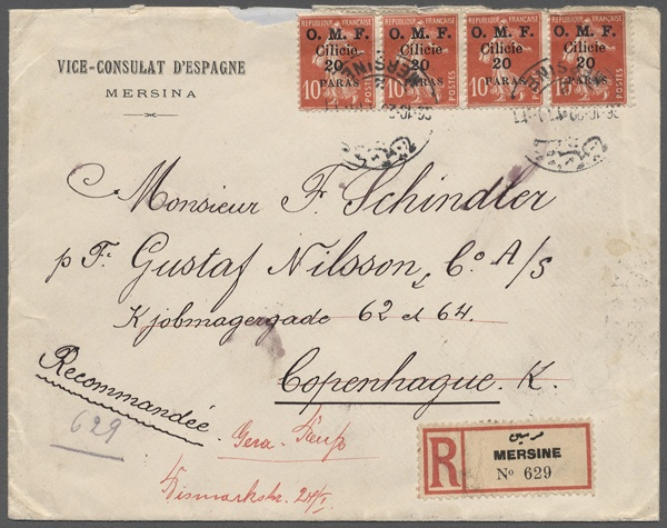 1920 (26. 10. ), Semeuse 20 Pa. on 10 C. red in the horizontal strip of four as well reverse 1 Pia. on 25 C. blue in the horizontal strip of five with anhäng. Gutter on form letter 'Vice-Consulat d'Espagne, Mersina' as registered from MERSINA to Copenhagen forwarded to Gera / Germany with reverse both on route passing cancellations, at the upper margin rough opened defective at the reverse flap    Dealer  Gärtner Christoph Auktionshaus    Auction  Minimum Bid:  200.00EUR