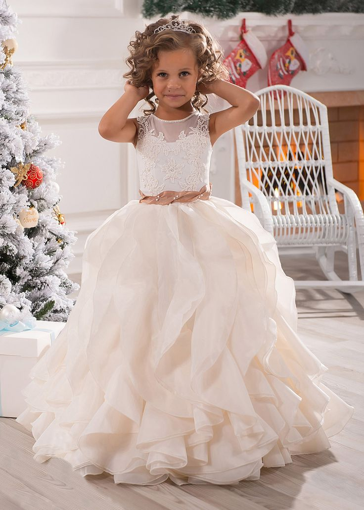 Ivory Lace Champagne Organza Ruffle Long Flower Girl Dress