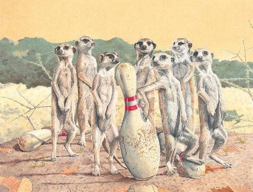 """Meer Alley Kats"" -Paul VanHeest  Meerkats hanging out at the bowling alley"