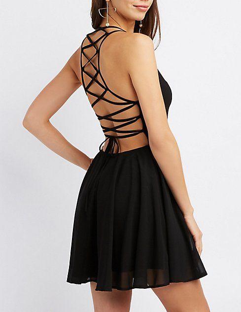 5c4df82e03e Lace Up Back Skater Dress