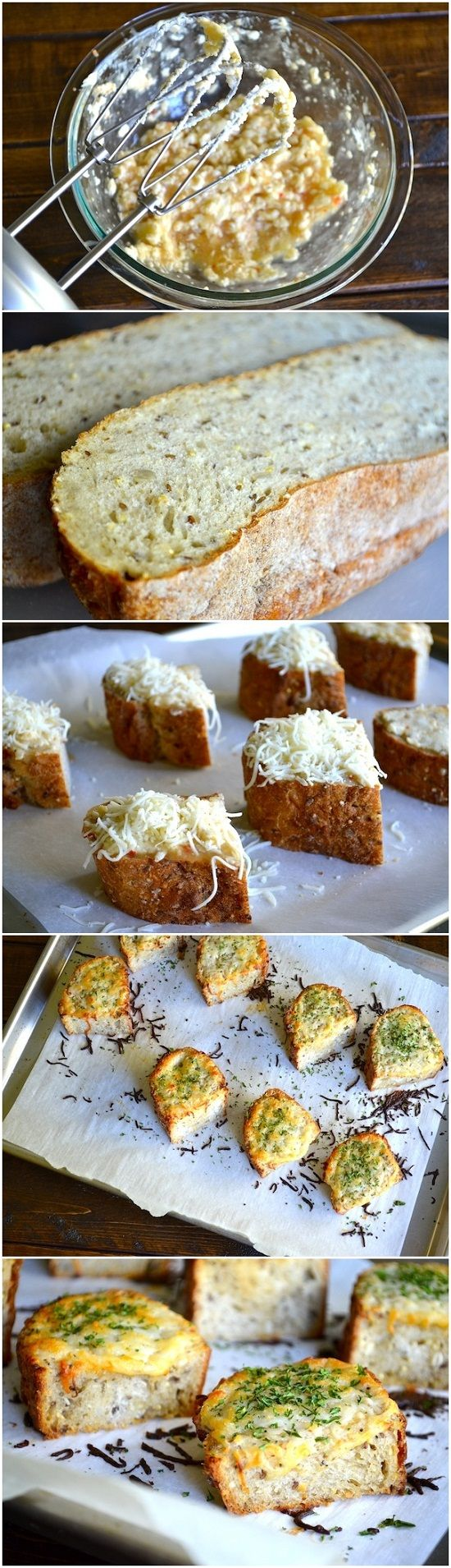 Garlic Cheese Bread  ½ cup butter, softened 2 cloves garlic, minced ½ cup italian salad dressing 1 loaf Italian bread 2 cups mozzarella, shredded 2 teaspoons parsley Instructions  Preheat oven to 375 degrees. Blend butter, garlic and salad dressing together with a hand mixer. Slice loaf in half length-wise and slice each half into 8 pieces. Arrange bread on a lined baking sheet. Spread butter mixture over slices. Sprinkle with mozzarella and parsley. Bake for 15-20 minutes