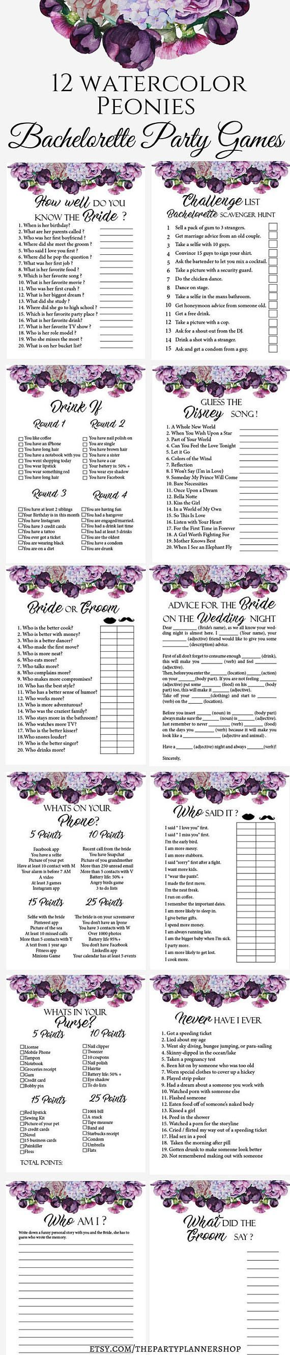 12 Watercolor Peonies Bachelorette Party Games, Printable Bachelorette Party Game, Bridal Shower Game, Hens Night Game  This printable bachelorette party or bridal shower game set is the perfect way to have a great time. From simple games to drinking games everybody can find