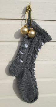 Sydänkuvioinen joulusukka (harmaa)