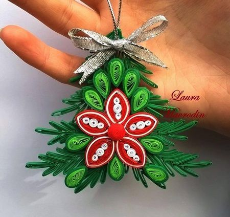 handmade Christmas ornament ... quilled tree... layers topped with a flower ...
