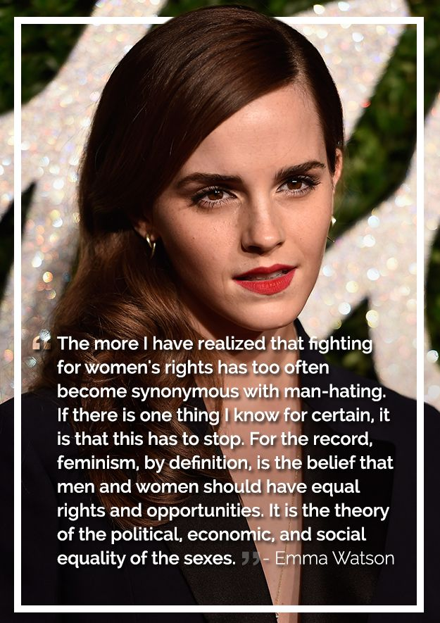 Please stop saying that feminist is hating men. I don't hate men, that's sexist, which is against the point. I belive in EQUAL rights.
