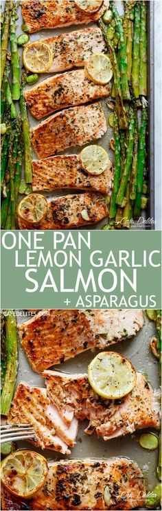 Lemon, garlic and parsley are infused in One Pan Lemon Garlic Baked Salmon + Asparagus ready in only 10 minutes without any marinading! </a>