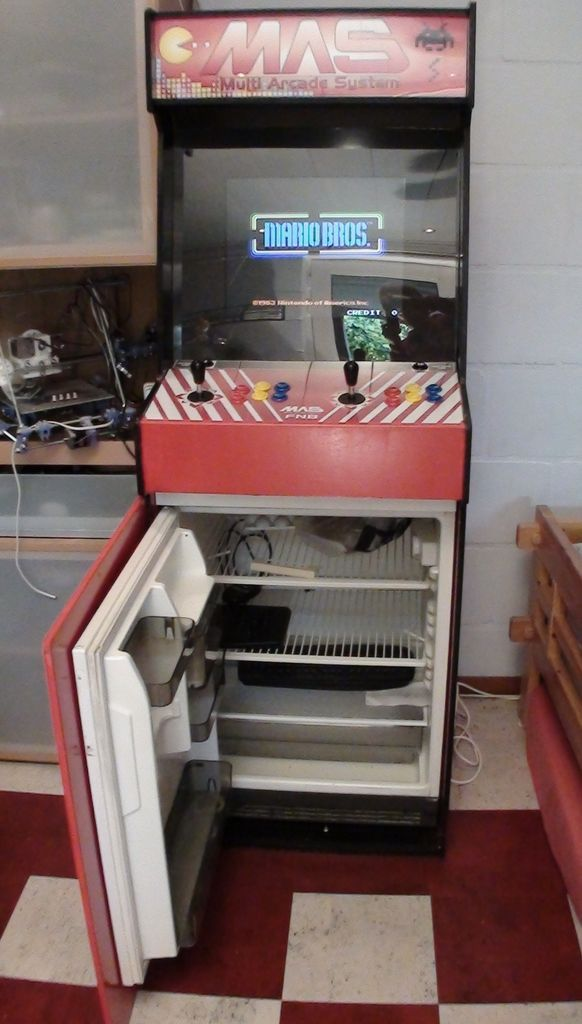 Great Ideas for a Geek Cave! Mame Cab with Beer Fridge!