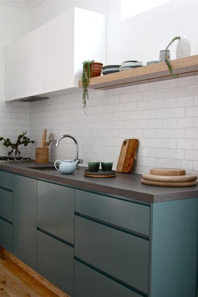 Green | Teal | Cabinets | Wood | Open shelves | Floating shelf | Minimal kitchen