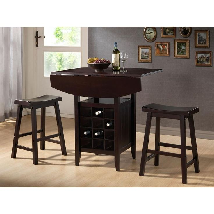 The Tacoma Pub Table with Stools is the perfect dining and storage solution for home bars or small dining spaces. With a fold down table extender, twelve bottle wine rack, storage shelf and two compact and comfortable stools, you'll love the style and functionality of this solid wood table.
