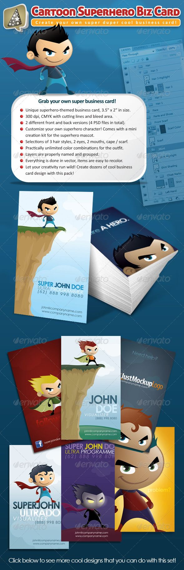 "Cartoon Superhero Business Card Maker  Ever want to add that whimsical touch and fun element to your business card? If yes, this superhero-themed business card is perfect for you! Standard 3.5"" x 2"" size (vertical) in 300 dpi, full CMYK with cutting lines and bleed area. Ready to print! This business card print template also comes with a mini cartoon superhero character creation kit – you can build and customize your very own superhero mascot!"