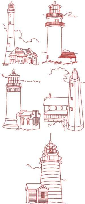 Lighthouse Redwork Set  -- oh, how I need this for a gift for Terri!!