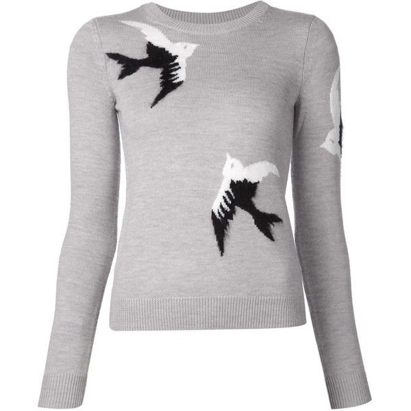 Sonia By Sonia Rykiel bird intarsia sweater ($460) ❤ liked on Polyvore featuring tops, sweaters, grey, gray sweater, bird sweater, intarsia sweater, grey top and bird print top
