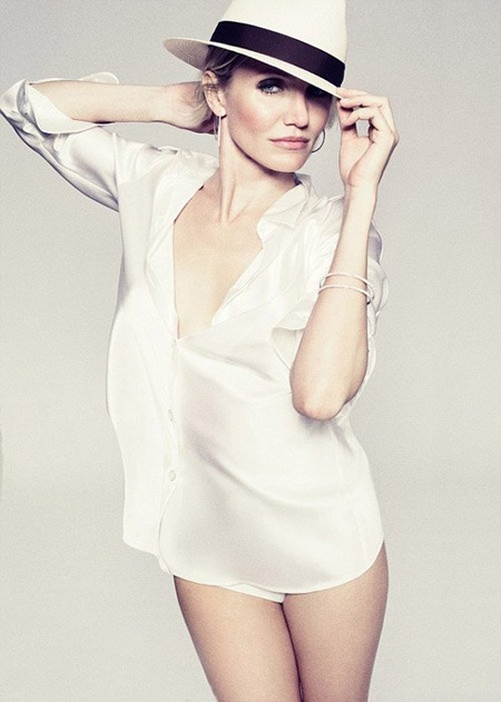 Cameron Diaz in just a shirt and a hat)))) See more here http://www.millionlooks.com/people-and-events/celebrities/cameron-diaz-loves-british-men-harpers-bazaar-june-2012/