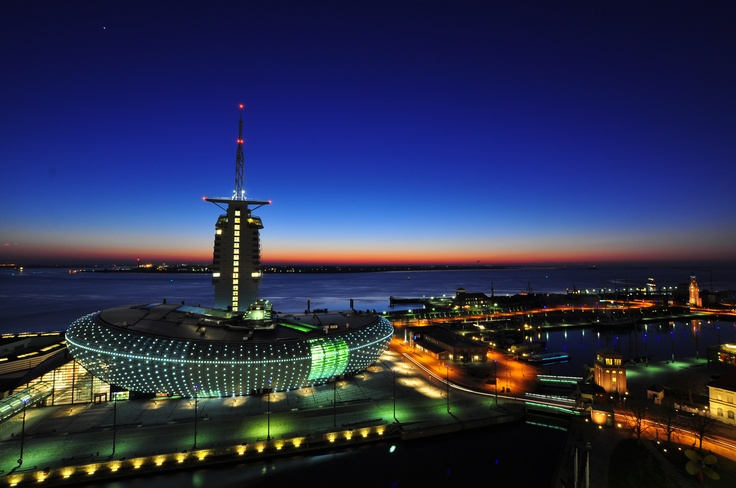View on the north sea with the Sail city Hotel and the Klimahaus in my hometown Bremerhaven