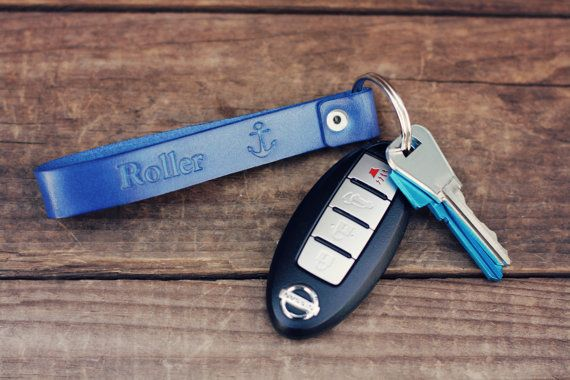Personalized Leather Keychain Custom Leather by RSVPhandcrafted