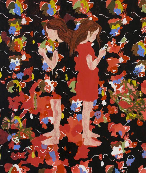 Kirra Jamison, Belong To Me (after Deluany), acrylic, gouache, pen on canvas, 220 x 183 cm