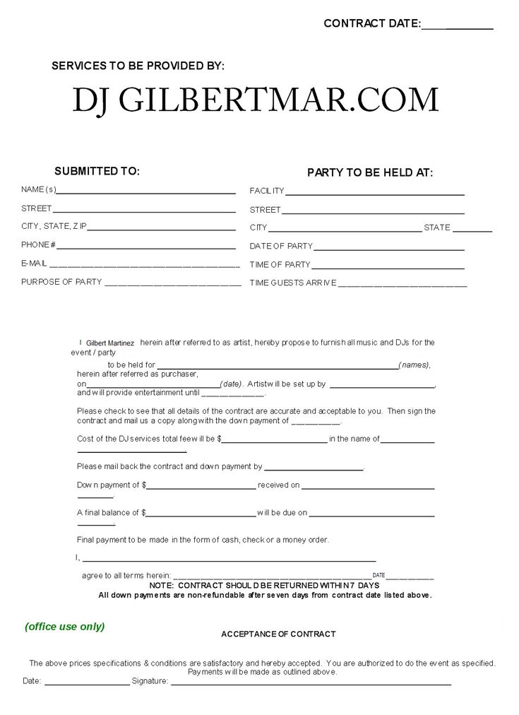 dj contract template non compete agreement d j. Black Bedroom Furniture Sets. Home Design Ideas