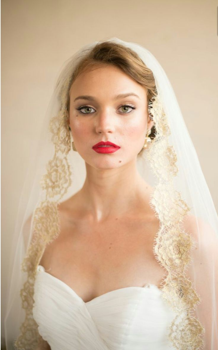 Veil With Gold Lace Trim