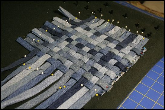 Repurposed old denim.  Cut into strips and weave in a potholder.  Very sturdy!