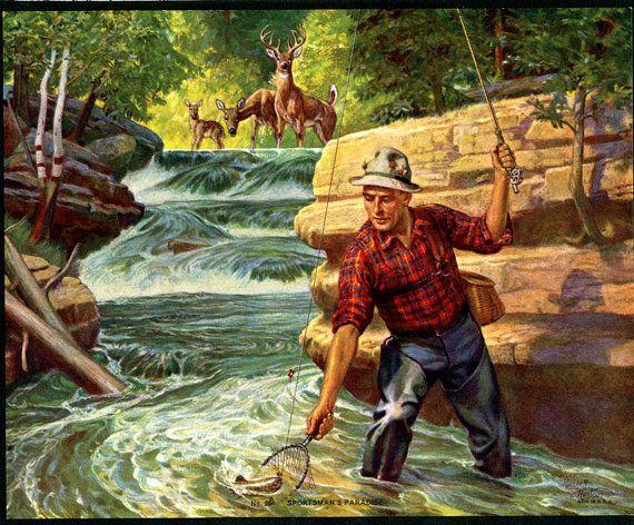 Fishing Scene Downloadble Printable Digital Art by naturepoet, $4.50