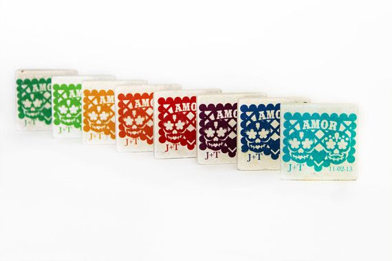 Papel picado wedding favors Day of the Dead 50 door LaSantaMuerte