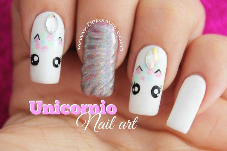 Decoracion de uñas unicornio