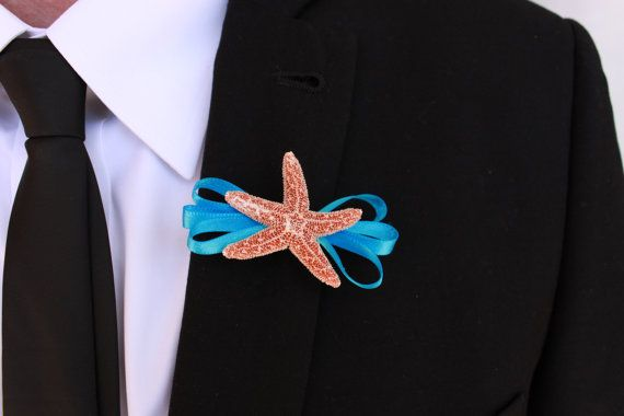 Turquoise Beach Wedding Boutonniere with Starfish by MyWindansea, $7.00