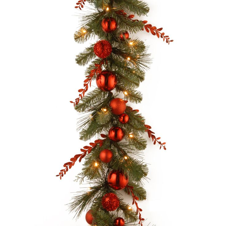 9 ft. Decorative Collection Christmas Red Mixed Pre-Lit Garland | from hayneedle.com