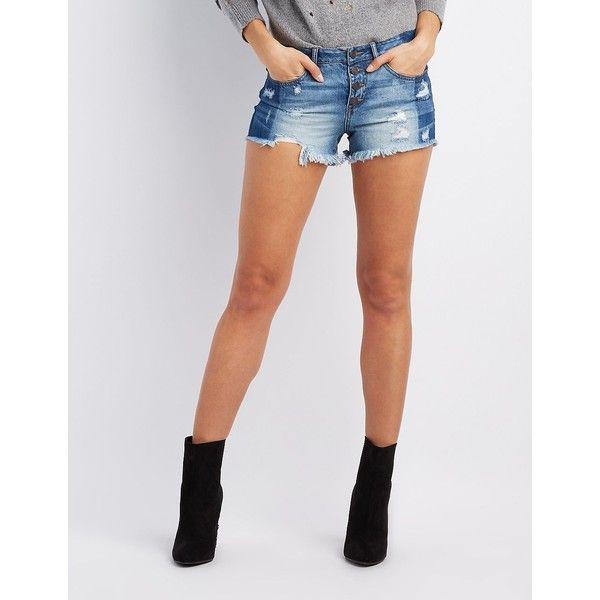 Refuge Destroyed Cut-Off Denim Shorts ($27) ❤ liked on Polyvore featuring shorts, indigo, denim shorts, ripped jean shorts, frayed denim shorts, distressed shorts and short jean shorts