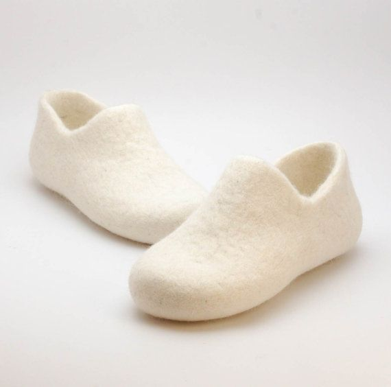 Felted wool clogs just white  organic wool shoes  by WoolenClogs, $60.00