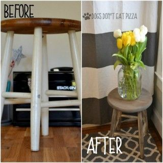 Before and after farmhouse stool - Rust-Oleum $10 Thrift Store Blogger Challenge - http://dogsdonteatpizza.com