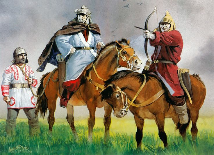 """Huns in Eastern Europe, 5th/6th century AD"" • Germanic warrior • Hun officer • Hun warrior by Angus McBride"