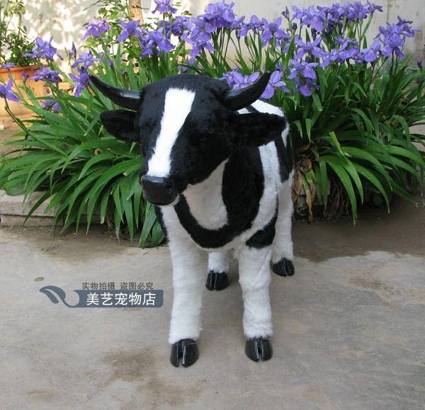 simulation cow model,polyethylene&fur large 100x35x65cm dairy cow handicraft toy props farm decoration Xmas gift b3872