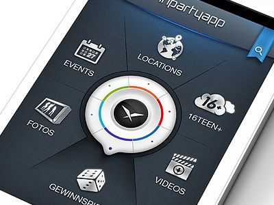 """Icon """"Dial"""" navigation. Seeing this more often as a home screen."""