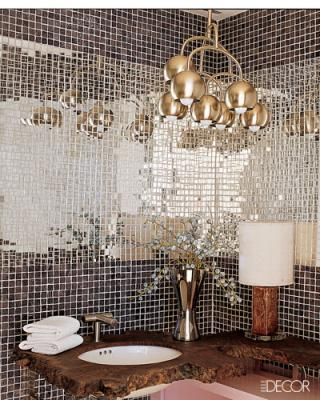 I want this on one wall of my bathroom.Bathroom Mirrors, Mirrors Tile, Ideas, Powder Room, Glasses Tile, Mirrors Wall, Elle Decor, Interiors Design, Mosaics Tile