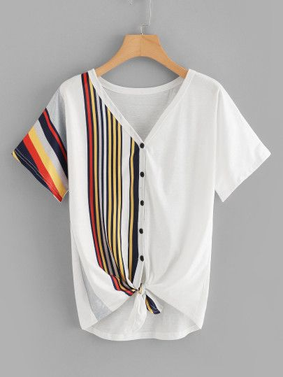 5801c13c33 Shop Contrast Striped Button Through Tee online. SheIn offers Contrast  Striped Button Through Tee & more to fit your fashionable needs.