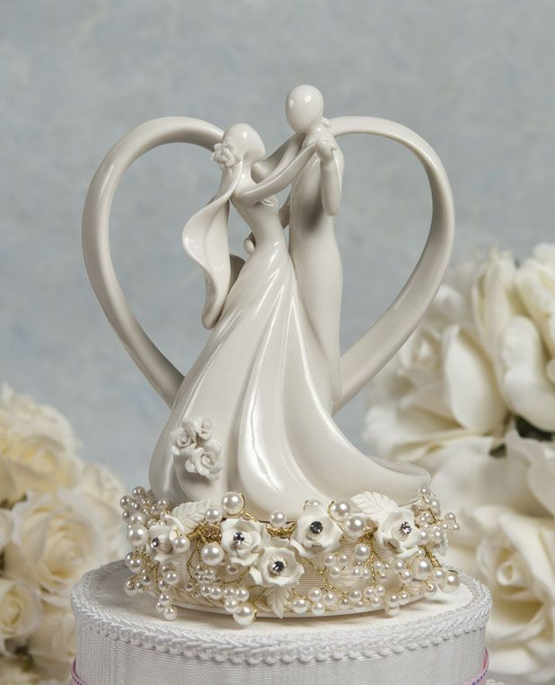 Ivory Vintage Rose Couple With Heart Wedding Cake Topper