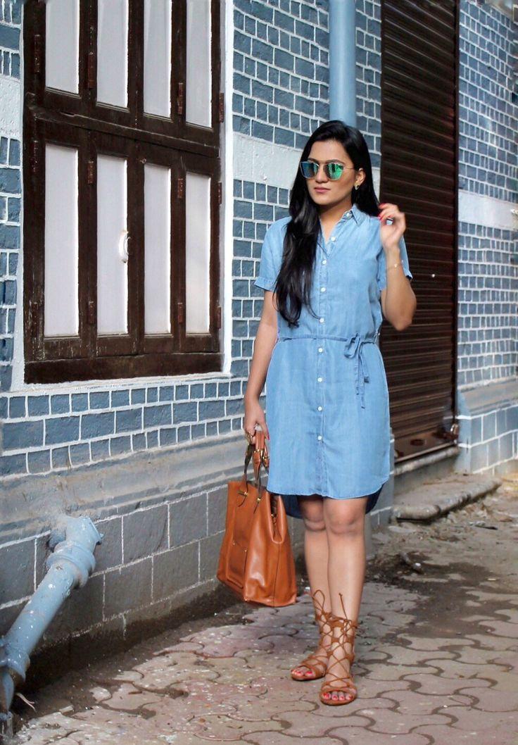 Denim Dress – Allen Schwartz | Sunglasses – Dior | Bag – Accessorize | Sandals – Forever 21 | Lipstick- Stila Liquid Lipstick in Patina  #denimdress #denim #styllogue #fashionblogger #streetstyle #shirtdress #indianfashionblogger #diorsunglasses #summertrends