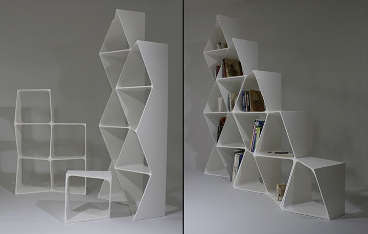 Retail - Furniture || RHOMBUS Shelves by Benjamin Migliore || 180 cm x 180 cm || 3 total units; 1st (9 squares), 2nd (5 squares), 3rd (1 square - doubles as a seat) || Can be formed in different layouts || Interesting way to display items and allows the designer to change the shape