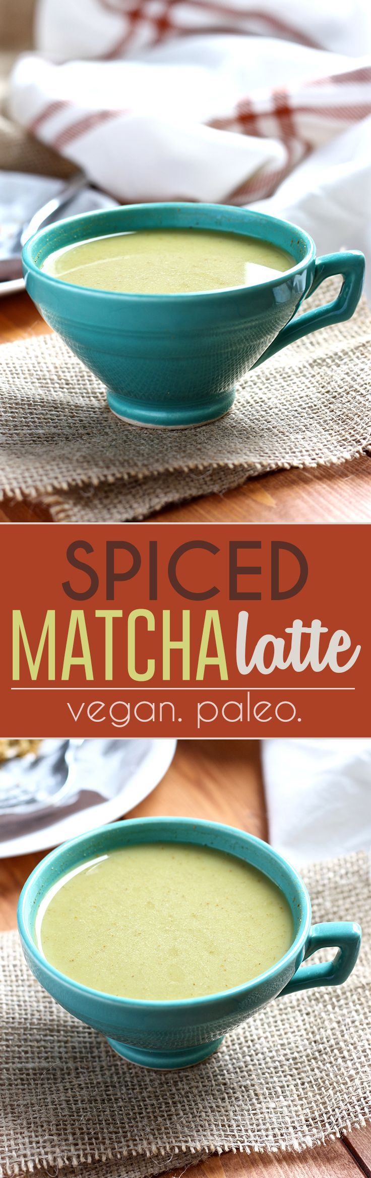 This dairy-free Spiced Matcha Latte is so perfect. The cinnamon, turmeric and ginger take this healthy green drink to a whole new level!