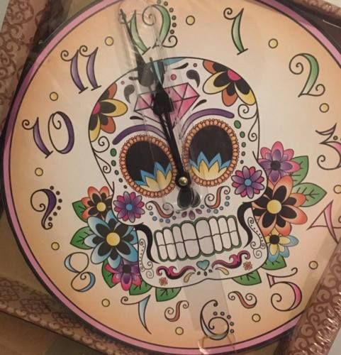 Day-of-the-Dead-Floral-Sugar-Skull-Mexican-Dia-De-Los-Muertos-Wall-Clock