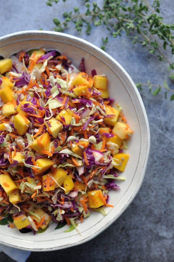 Cabbage and Mango Slaw by gmofreegirl: So refreshing with the dressing made of coconut milk, lime juice and grated fresh ginger. #Coleslaw #Mango #Healthy