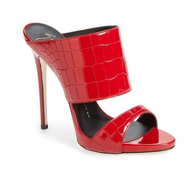 "Giuseppe Zanotti 'Coline' Double Band Mule, 5 1/4"" heel ($313) ❤ liked on Polyvore featuring shoes, red leather, high heeled footwear, high heel platform shoes, red shoes, leather shoes and mule shoes #giuseppezanottiheelsred"