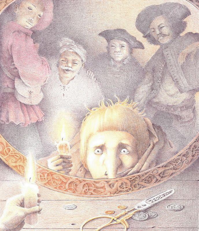 """Rostislav Popsky illustration for """"Dwarf Nose""""."""